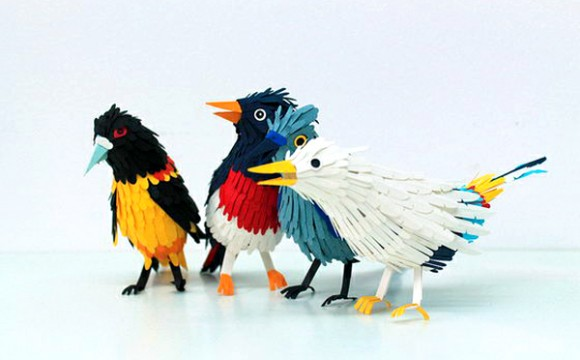 ศิลปะจากนกกระดาษหลากสี