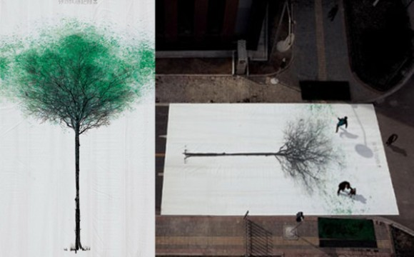 ศิลปะต้นไม้บนทางม้าลายสุดครีเอท