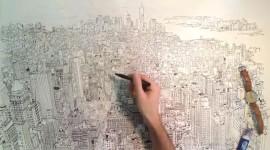 วีดีโอวาดภาพเมือง Manhattan ด้วยมือเปล่า
