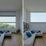 Large window with two-directional blinds